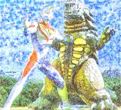 Tv Show Digital Art - Ultraman Fighting - Da by Leonardo Digenio