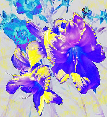 Art Print featuring the photograph Ultraviolet Daylilies by Shawna Rowe