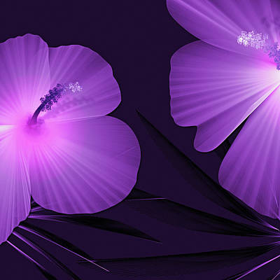 Digital Art - Ultraviolet Hibiscus Tropical Nature Print  by Sand And Chi