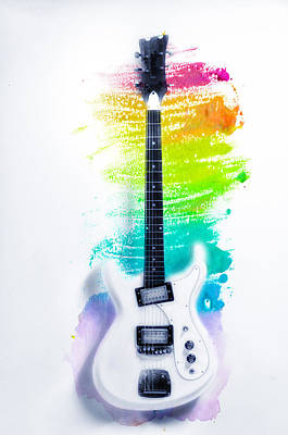 Electric Guitar Photograph - Ultravox Guitar Watercolor Bg by Bill Cannon
