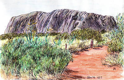 Monolith Drawing - Uluru by Anne Huth