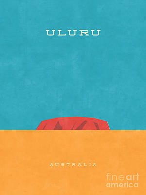 Uluru Ayers Rock Retro Tourism Art Print