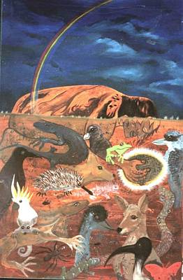 Australian Native Painting - Uluru Totems Ayers Rock by Lawry Love