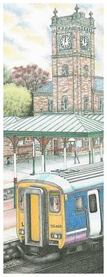 Train Station Drawing - Ulverston Railway Station Clock by Sandra Moore