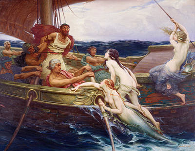 Row Painting - Ulysses And The Sirens by Herbert James Draper