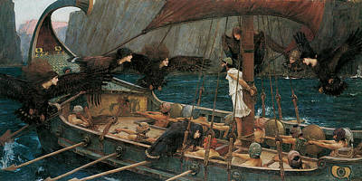 Ulysses And The Sirens Painting - Ulysses And The Sirens by John William Waterhouse