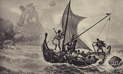 Cyclops Wall Art - Drawing - Ulysses Deriding The Cyclops by Louis-Frederic Schutzenberger