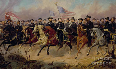 Man And His Horse Painting - Ulysses S Grant And His Generals by Ole Peter Hansen Balling