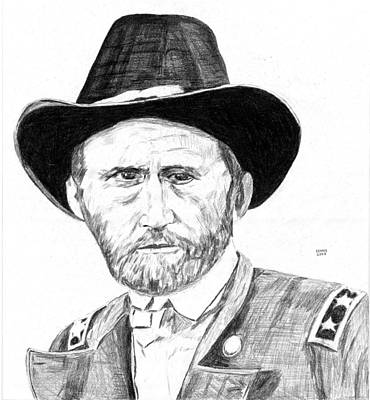 General Grant Drawing - Ulysses S. Grant by Dennis Larson