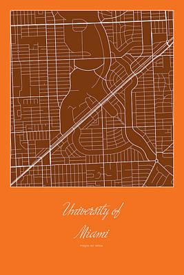 Um Street Map - University Of Miami In Miami Map Art Print by Jurq Studio