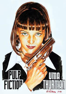 Kill Bill Painting - Uma Thurman Pulp Fiction 1994 by Spiros Soutsos