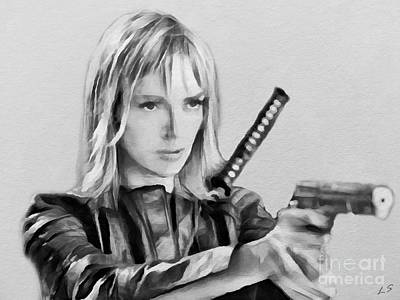 Drawing - Uma Thurman by Sergey Lukashin