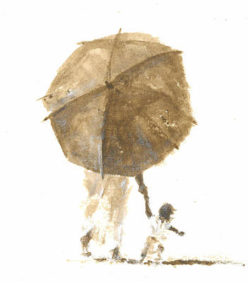 Little People Painting - Umbrella And Child One by Lincoln Seligman