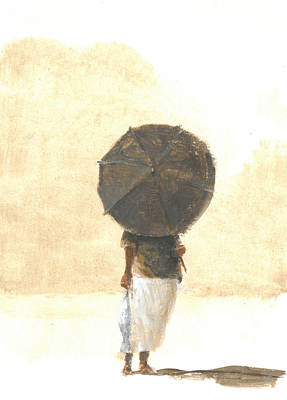 Sun Casting Shadow Painting - Umbrella And Fish Two by Lincoln Seligman