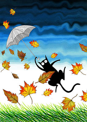 Whimsical Mixed Media - Umbrella by Andrew Hitchen