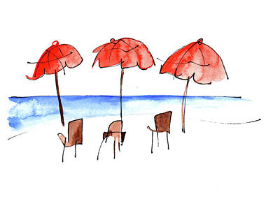 Painting - Umbrella By The Sea by Anna Elkins