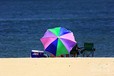 Photograph - Umbrella Colors At Asbury Park by John Rizzuto