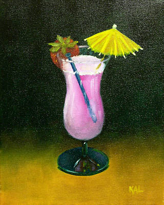 Painting - Umbrella Drink With Strawberry by Kathy Lumsden