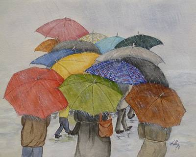 Painting - Umbrella Huddle Two by Kelly Mills