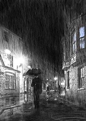 Rain Digital Art - Umbrella Man I by Svetlana Sewell
