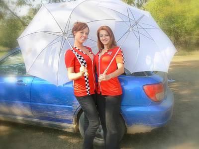 Blue Subaru Photograph - Umbrella Models by Tobi Cooper