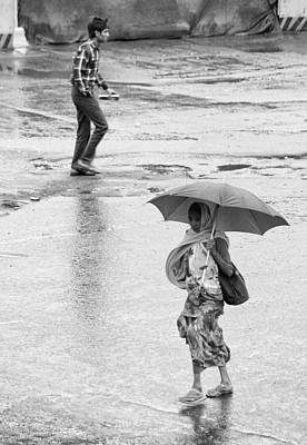 Umbrella No Umbrella  Art Print by Prakash Ghai