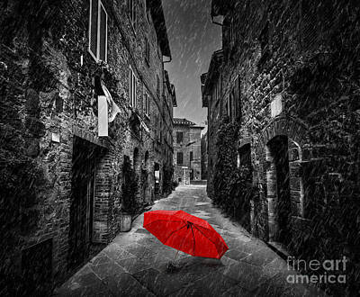 Umbrella Photograph - Umbrella On Dark Street In An Old Italian Town In Tuscany, Italy. Raining by Michal Bednarek