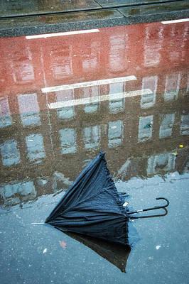 Photograph - Umbrella On Rainy Street In Amsterdam by Matthias Hauser