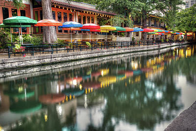 Photograph - Umbrella Reflections - San Antonio Riverwalk by Gregory Ballos