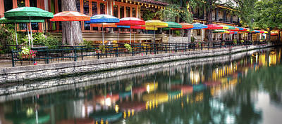 Photograph - Umbrella Reflections - San Antonio Riverwalk Panoramic by Gregory Ballos