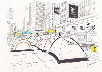 Occupy Drawing - Umbrella Revolution 1 Hk 2014 by Kathleen Wong