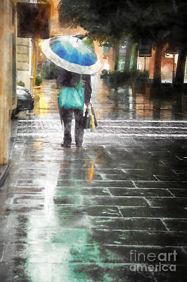 Cobblestone Painting - Umbrella Seller by HD Connelly