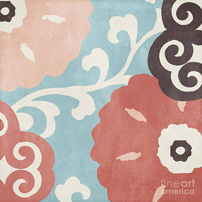 Abstract Flowers Painting - Umbrella Skies I Suzani Pattern by Mindy Sommers
