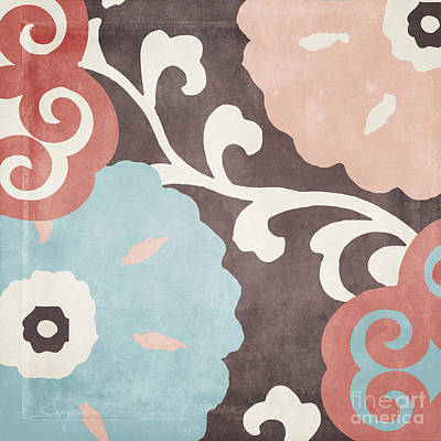 Abstract Flowers Painting - Umbrella Skies II Suzani Pattern by Mindy Sommers