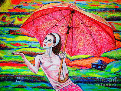 Painting - Umbrella.girl by Viktor Lazarev