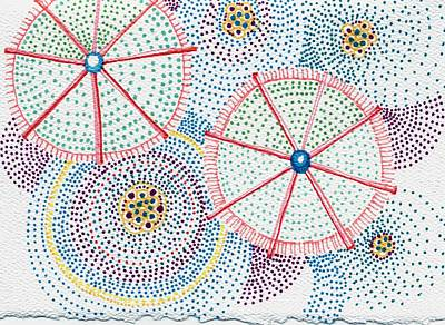 Pointalism Drawing - Umbrellas 3 by Leslie Genser