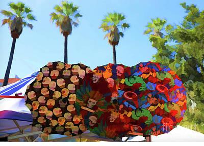 Dia De Los Muertos Photograph - Umbrellas Day Of The Dead Paint  by Chuck Kuhn