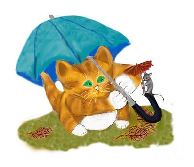 Digital Art - Umbrellas For Mouse And Kitty by Ellen Miffitt