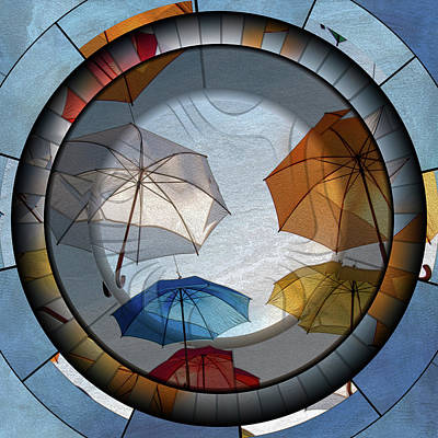 Digital Art - Umbrellas From A Time Gone By Art Deco Style Grunge by Georgiana Romanovna