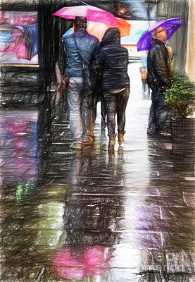 People Drawing - Umbrellas by HD Connelly