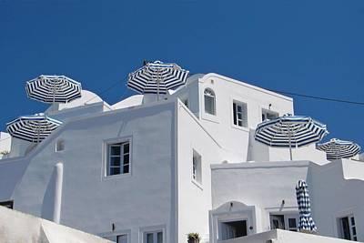 Photograph - Umbrellas - Santorini, Greece by KJ Swan