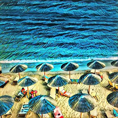Row Digital Art - Umbrellas On The Beach by Amy Cicconi