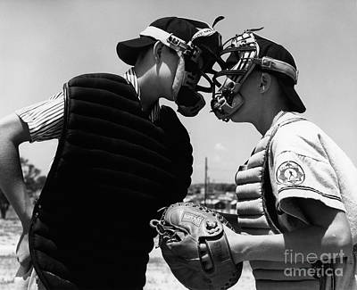 Preteen Photograph - Umpire And Catcher Arguing, C.1950-60s by H. Armstrong Roberts/ClassicStock