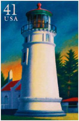 Red Letter Days Painting - Umpqua River Lighthouse by Lanjee Chee