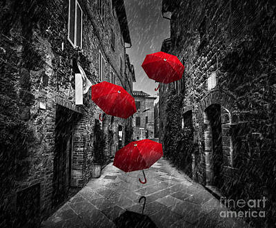 Fly Photograph - Umrbellas Flying With Wind And Rain On Dark Street In An Old Italian Town In Tuscany, Italy by Michal Bednarek