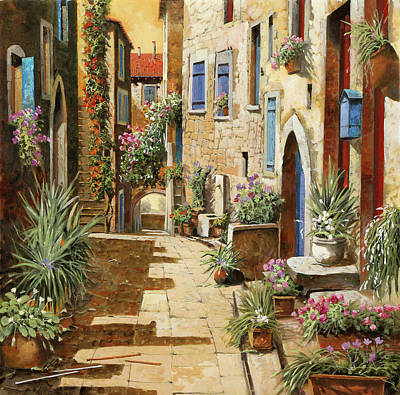 Village Painting - Un Bell'interno by Guido Borelli