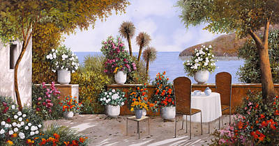 Table Painting - Un Caffe Davanti Al Lago by Guido Borelli
