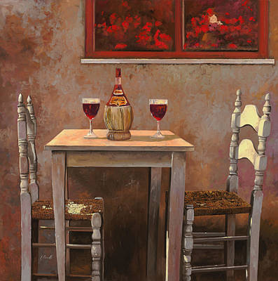 Table Wine Painting - un fiasco di Chianti by Guido Borelli