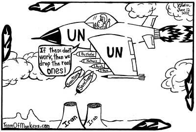 Un Iran Sanctions By Yonatan Frimer Art Print by Yonatan Frimer Maze Artist