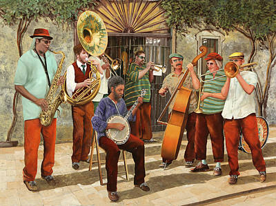 Jazz Painting Royalty Free Images - Un Po Di Jazz Royalty-Free Image by Guido Borelli
